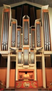 A photo of our church's organ in the Sanctuary.