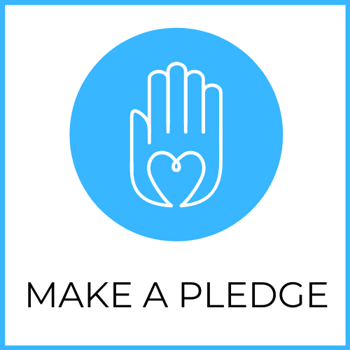 """""""Make a Pledge"""" (Image of a hand with a heart inside of it)"""
