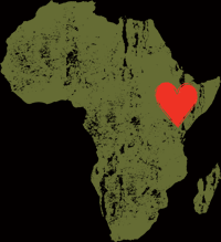An outline of Africa with a heart over Ethiopia