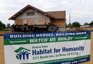 An early 1900s home sits in its new and permanent location for Pomona Valley Habitat for Humanity, at the corner of North 6th Avenue and East Washington Boulevard, in Upland on Thursday, Sep. 5, 2019. The home will be rehabilitated for a family of six. (Photo by Jennifer Cappuccio Maher, Inland Valley Daily Bulletin/SCNG)
