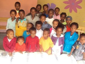 A group of Ethiopian children look at the camera